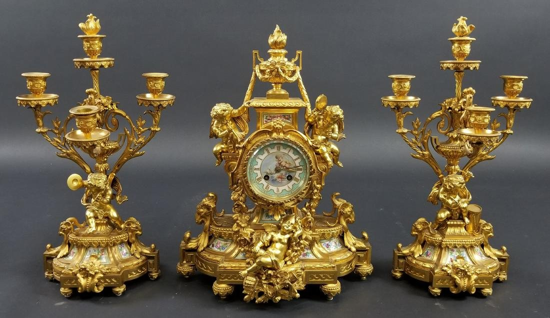 Late 19th C. 3 Pc. Gilt Bronze Mounted Sevres Porcelain