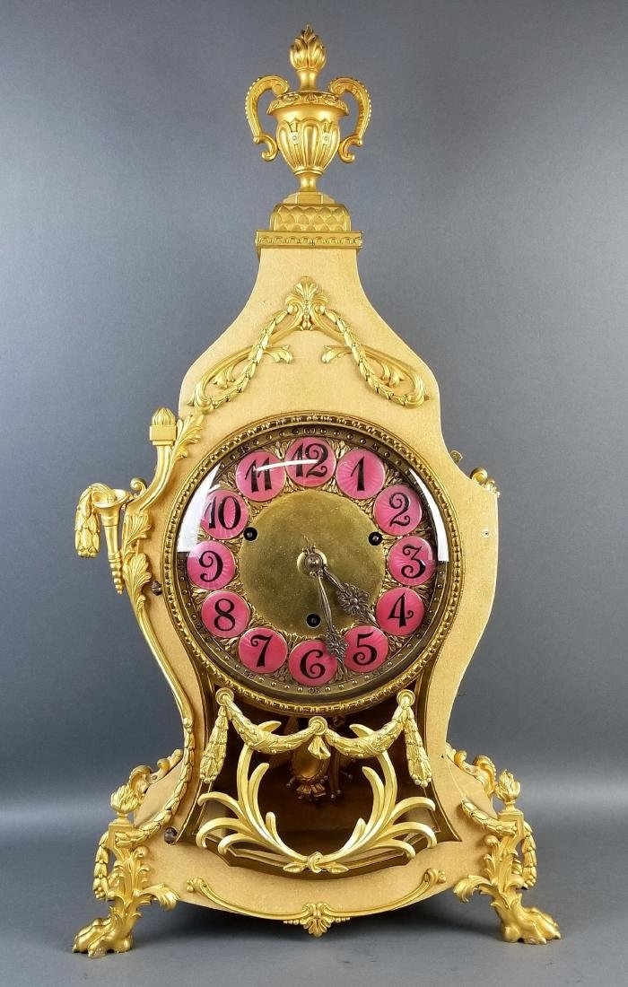 A 20th C. Contemperary Mantle Clock with Bronze Mounts