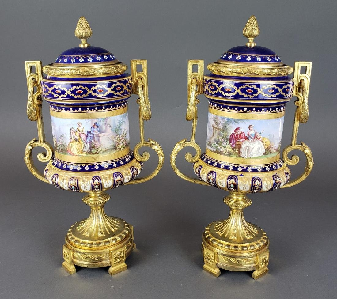 Pair of French Sevres Porcelain & Bronze Urns