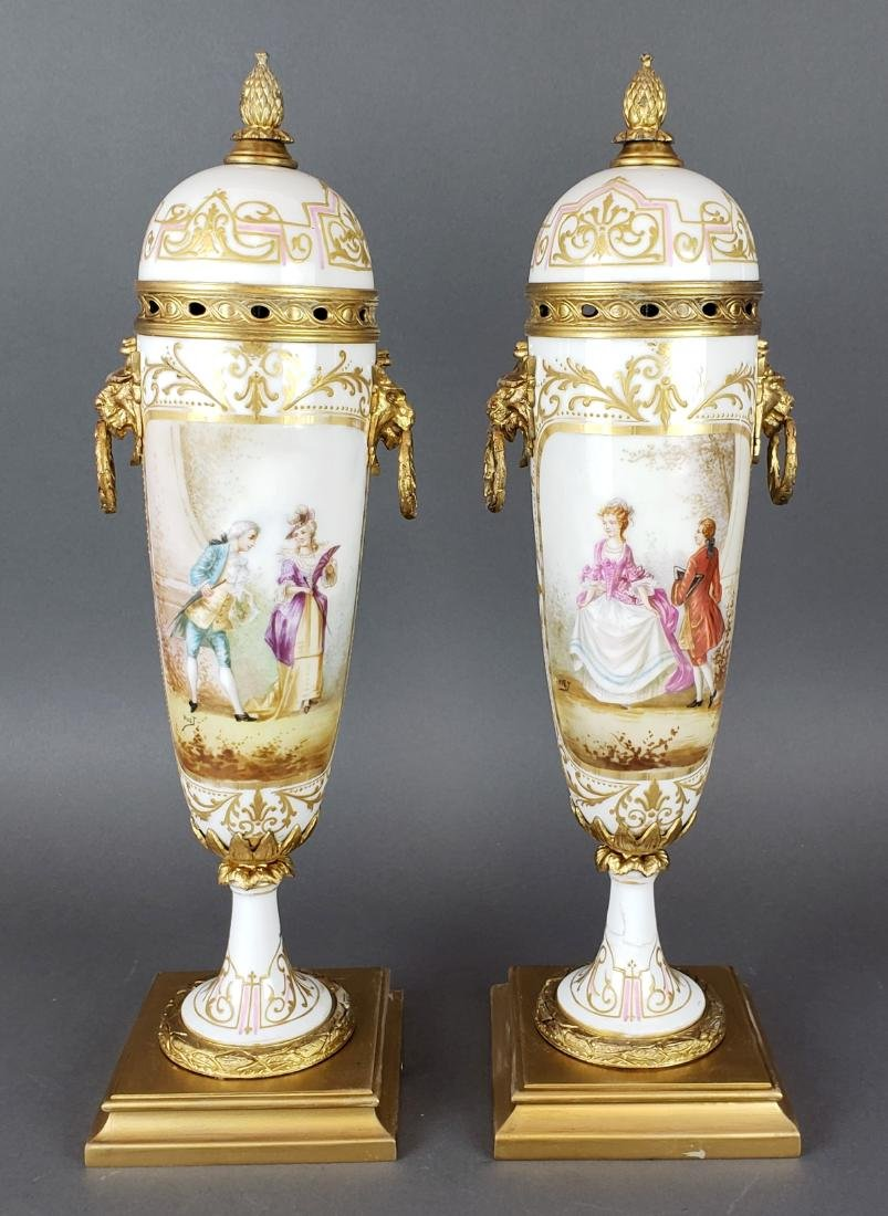 Pair of French Sevres Porcelain & Bronze Vases