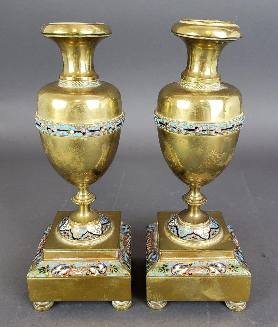 Pair of French Champleve Enamel & Bronze Vases