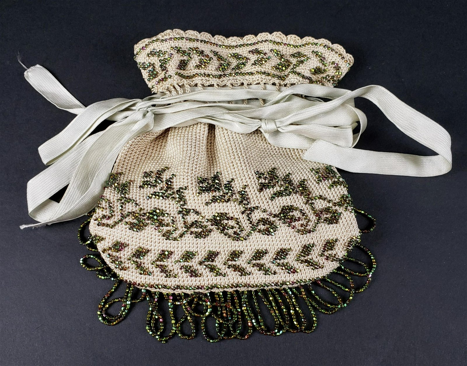 Victorian Hand Bag Silk Beaded De Soiree