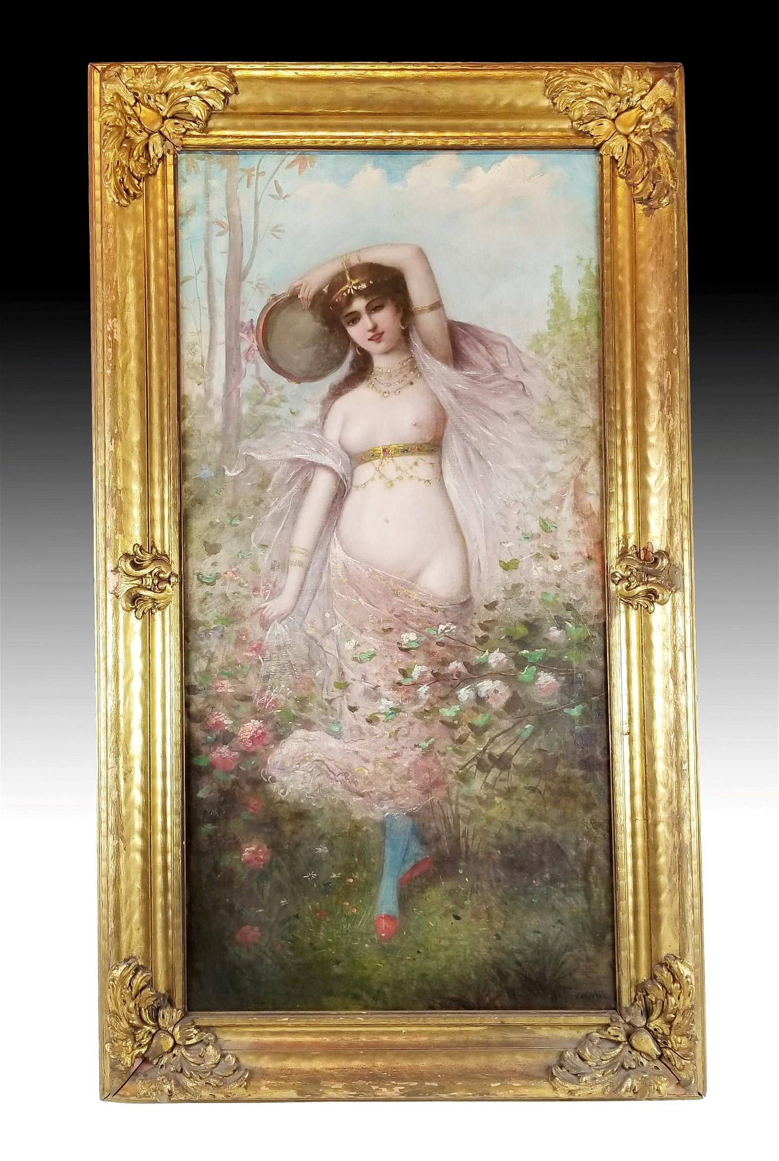 19th C. French Painting of Woman in Frame, Signed
