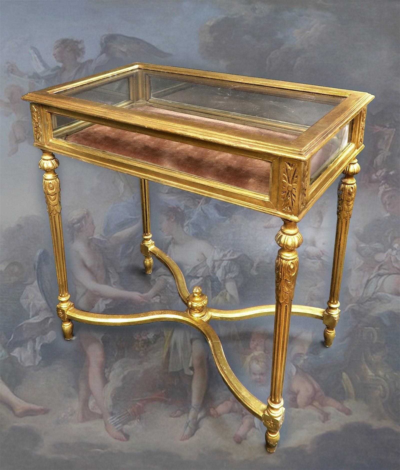 19th C. Louis XV Style Giltwood Vitrine Table