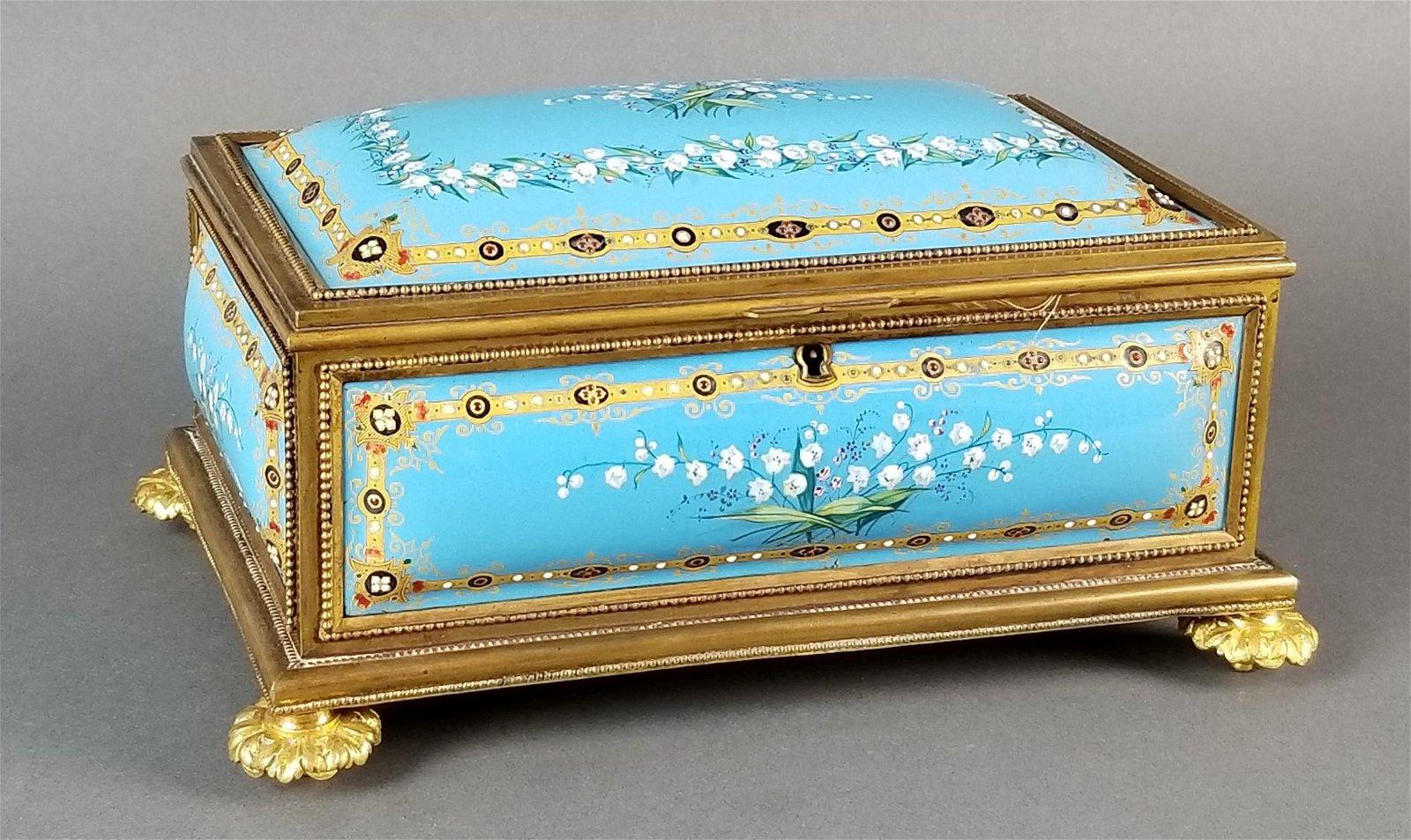 French Enamel and Bronze Handpainted Jewelry Box