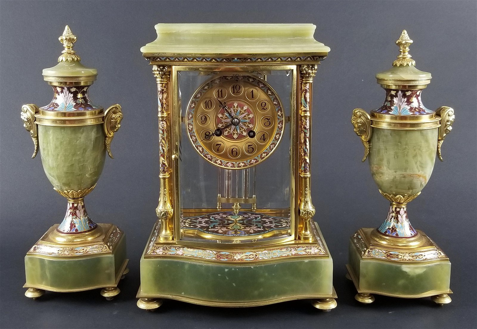 Late 19th C. 3 Pc. French Louis XV Style Gilt Bronze