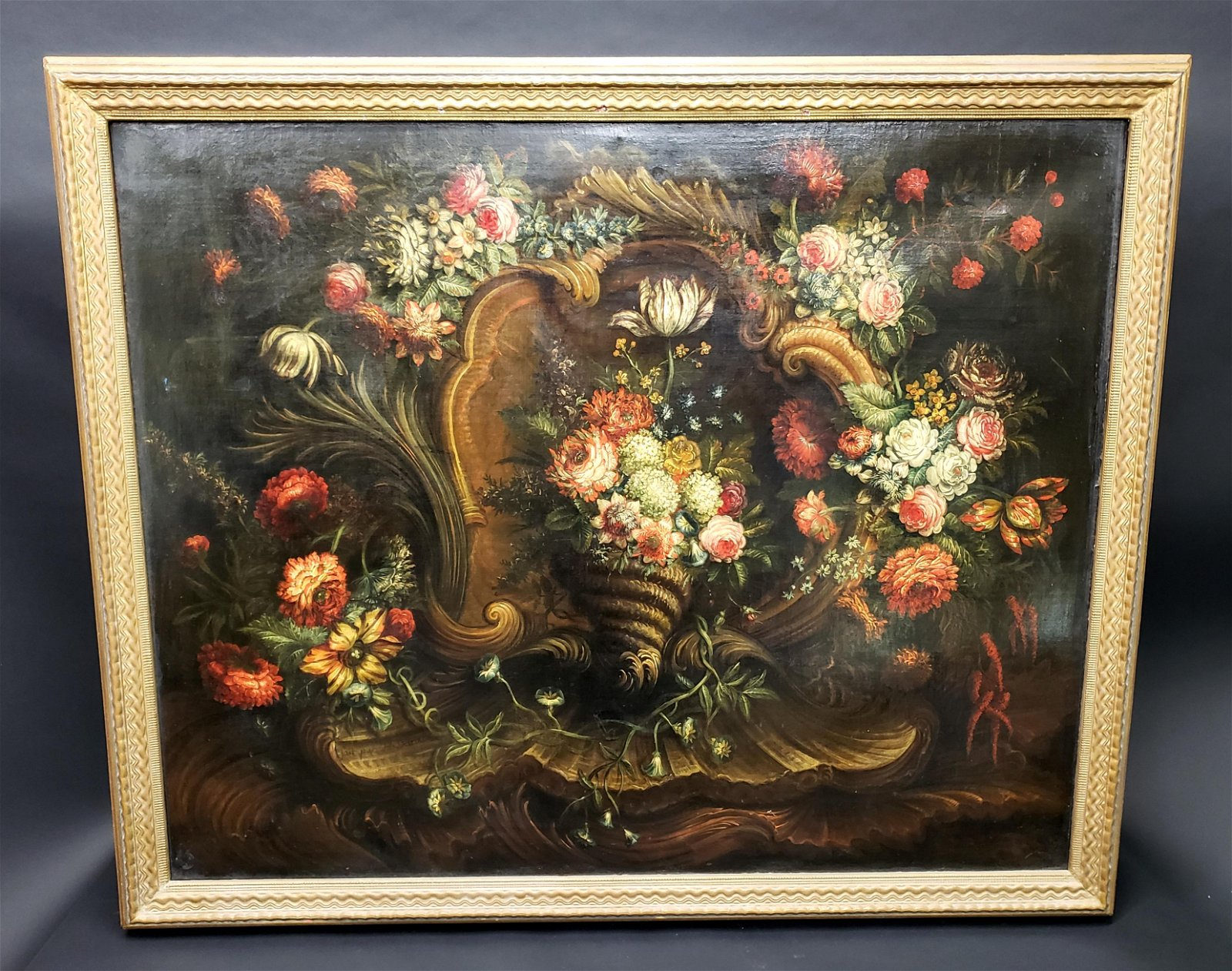 18th C. H. Detrix Signed Large Oil on Canvas Still Life