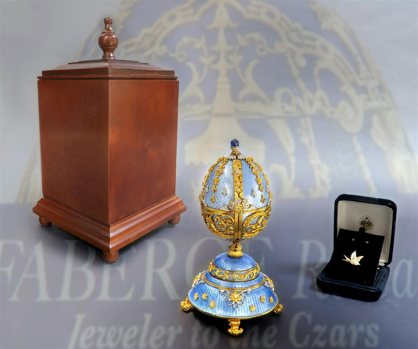 House of Faberge Sterling Silver & Enamel Musical Egg