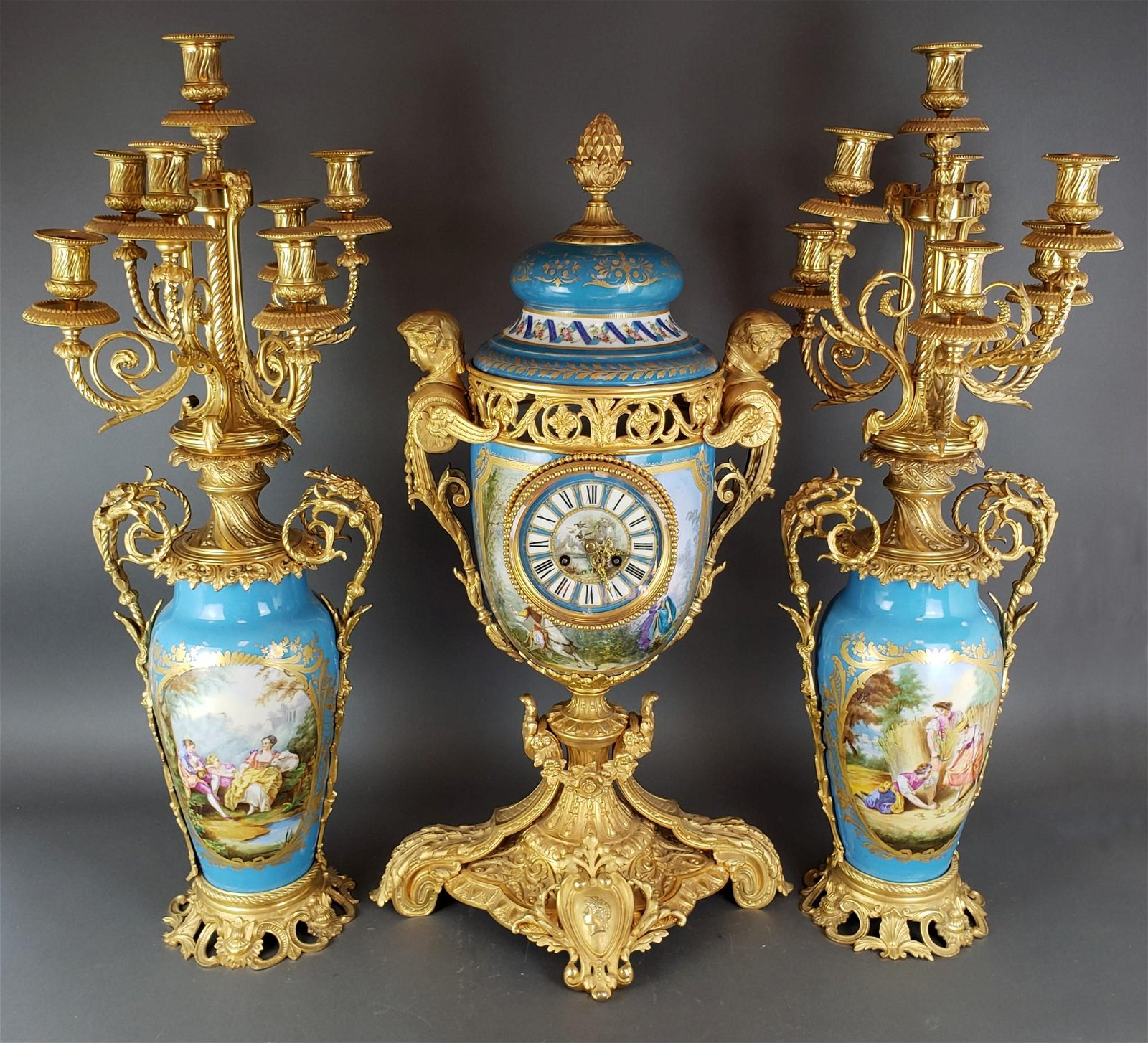 19th C. Large French Sevres Porcelain & Bronze Clockset