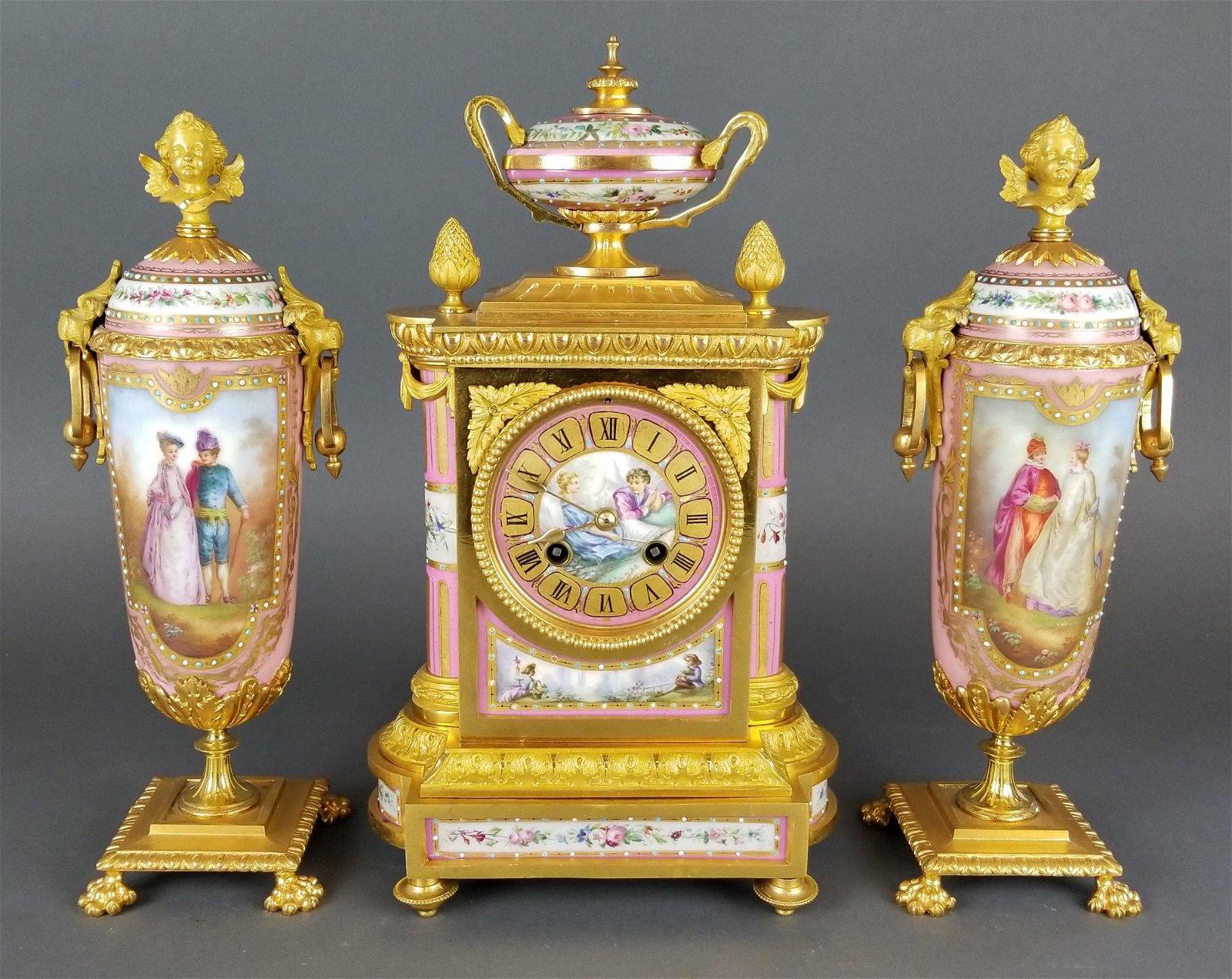 19th C. French Sevres Porcelain & Bronze Clockset