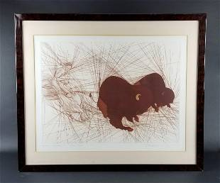 Guillame Azoulay Etching Deux Bisons Signed Circa