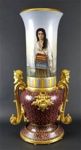 Large Royal Vienna Hand Painted Urn Circa 1900