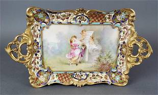 19th C French Champleve Enamel Bronze Tray