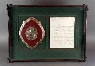 Antique Framed 16th C Commerative Plaque Document C