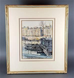 Antique Framed Watercolor Signed