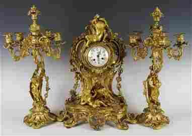 19th C. French Gilt Bronze and Ormolu 3pc. Clockset