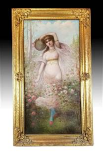 19th C French Painting of Woman in Frame Signed