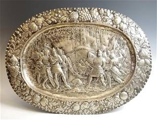 Late 18th C European Sterling Silver Figural Tray