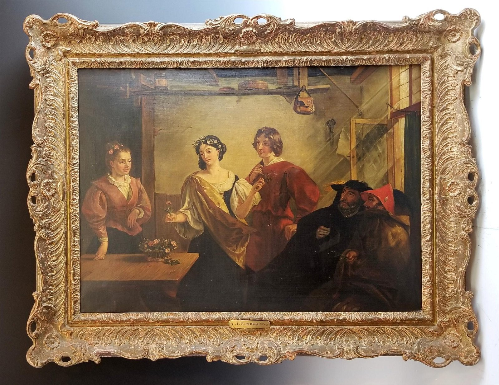 19th C. Painting of Family Gathering by JB Burgess