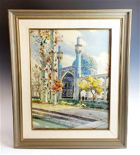 Persian Painting of Mosque Scene Signed Y Nahapetian