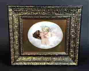 19th C KPM Porcelain Kiss Plaque