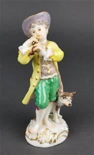 19th C Meissen Figure of Boy w Dog