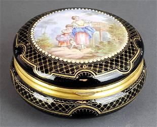 French Porcelain Enamel Round Jewelry Box