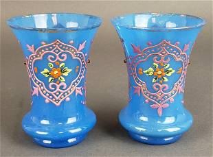 Pair of French Opaline Glass Vases