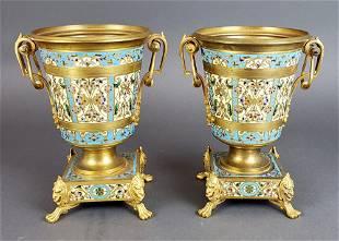 Pair of French Champleve Enamel Bronze Vases