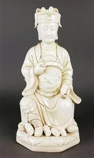 Large Chinese Porcelain Figure of Quan Yen