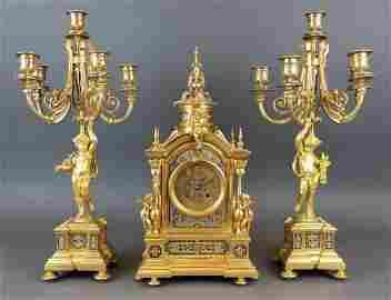 19th C. French Champleve Enamel Figural Clockset