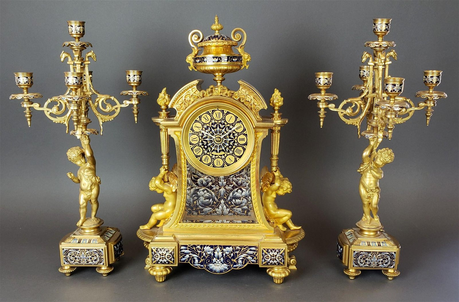 Exquisite French Champleve Enamel & Bronze Clockset,