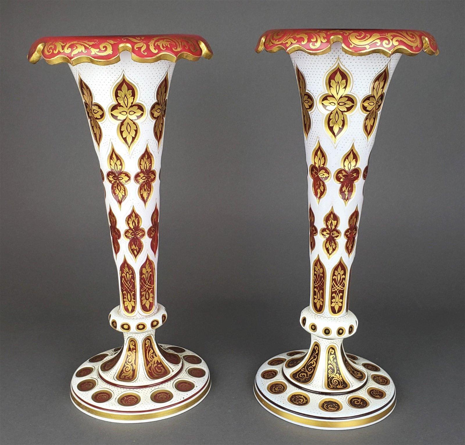 Pair of Large 19th C. Bohemian Vases