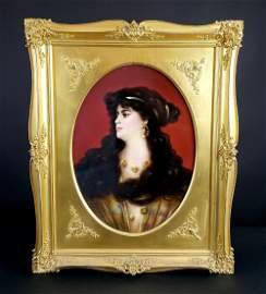 KPM Plaque of a Beauty in Gilt Frame, Circa 1890