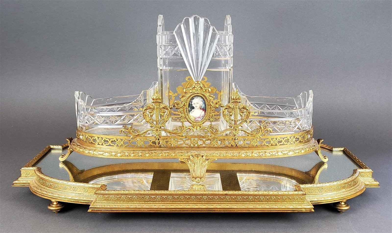 French Bronze & Baccarat Crystal Centerpiece w/