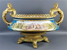 A 19th C. Sevres Bronze and Porcelain Centerpiece,