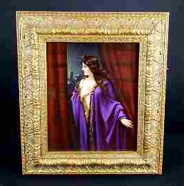 KPM Plaque of Young Woman in Purple, Circa 1890