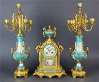 19th C. Sevres Turquoise Porcelain and Bronze 3 Pc.