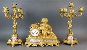 19th C. French Sevres & Figural Bronze Clockset