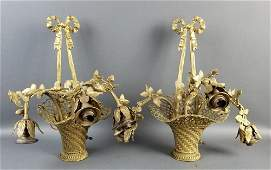 Pair of Late 19th C Gilt Bronze Basket Shaped Wall