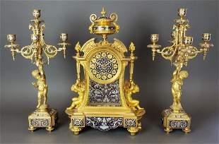 Exquisite French Champleve Enamel & Bronze Clockset,