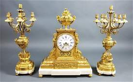19th C. 3 Pc. French Gilt Bronze and Marble Clockset