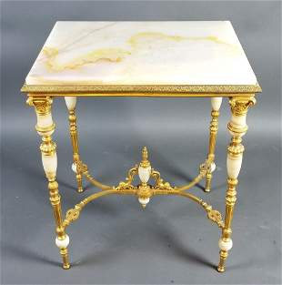 19th C. French Onyx and Gilt Bronze Table