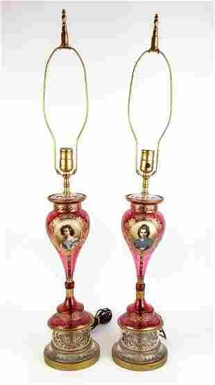 Pair of Bohemian Cranberry Glass Lamps