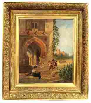 19th C Oil On board Orientalist Painting By Arthur