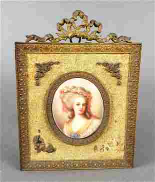 French Porcelain Plaque in Bronze Frame