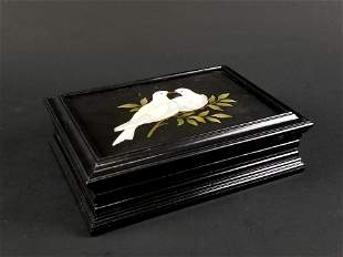 Italian Pietra Dura Wood Box w/ Two Doves on a Branch,
