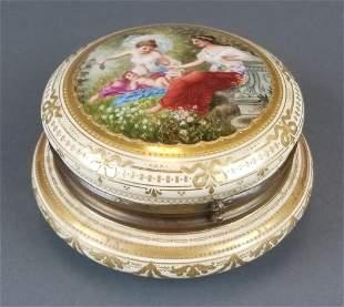 19th C. Royal Vienna Hand Painted Jewelry Box