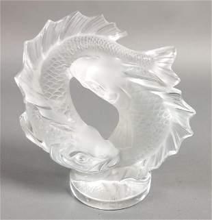 Lalique Crystal Deux Poissons Double Fish Sculpture