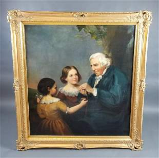 19th C. Large Painting of Grandfather and Children,
